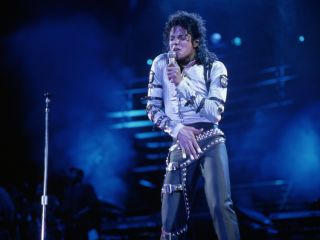 Michael Jackson on stage in Spain in 1988.