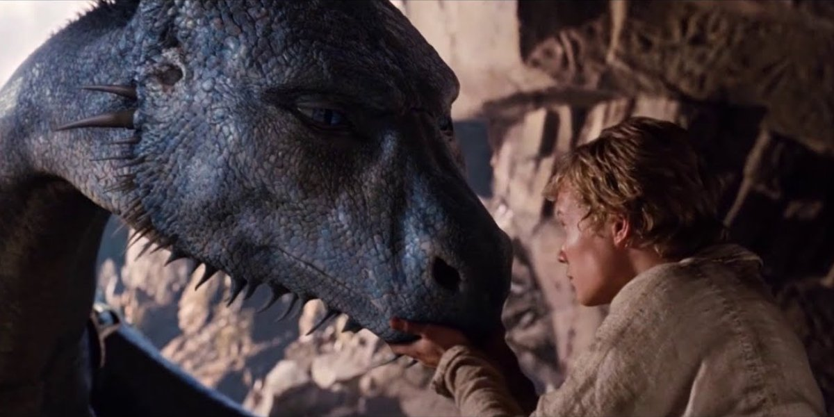 Ed Speleers with dragon Saphira, voiced by Rachel Weisz, in Eragon