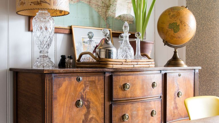 How to restore old wooden furniture: Georgian style sideboard with decanter and globe