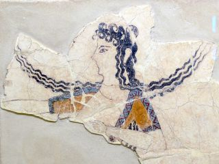A fragment from a Minoan fresco showing a woman dancing. The fragment dates to between 1600 B.C. and 1450 B.C.