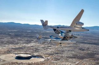 Virgin Galactic's VSS Unity spaceliner relocates to the company's commercial hub at Spaceport America in New Mexico on Feb. 13, 2020.