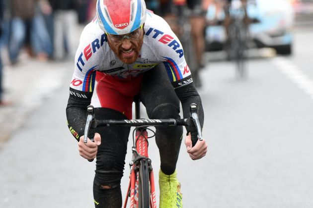 Luca Paolini attacks in the 2015 Ghent-Wevelgem