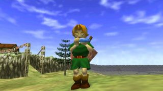 Link plays the Ocarina of Time