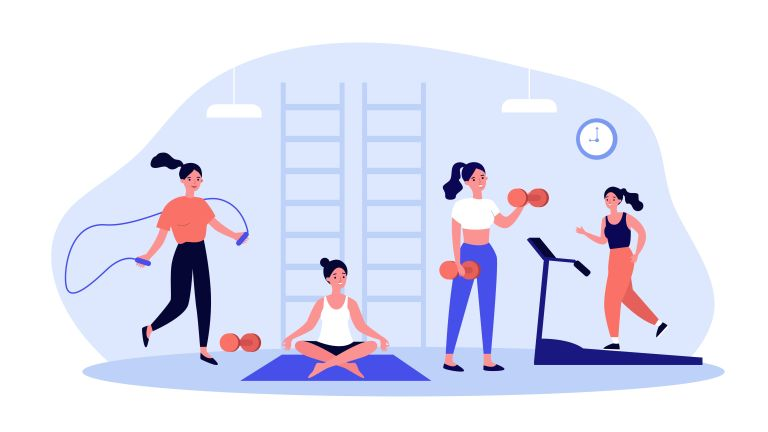 illustration of woman doing different workouts