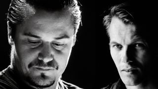 Black and white portrait of Mike Patton and John Kaada