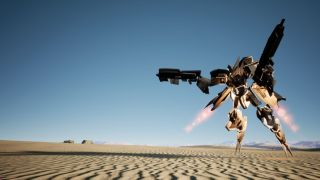 A mech stands in the desert.
