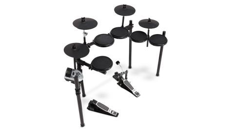 "Centred round the new DM7X module, the kit comes with five 8"" dual-zoned drum pads, four 10"" single-zoned cymbal pads and a ""variable"" hi-hat controller pedal"