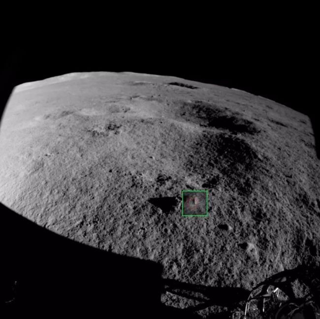 A rock fragment viewed by a Yutu-2 obstacle-avoidance camera.