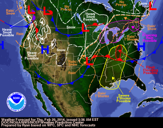 Severe Weather Map - Feb. 20, 2014