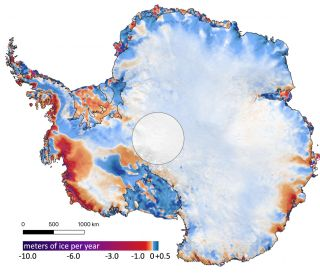 This shows the amount of ice gained or lost by Antarctica between 2003 and 2019. Dark reds and purples show large average rates of ice loss near the coasts, while blues show smaller rates of ice gain in the interior.