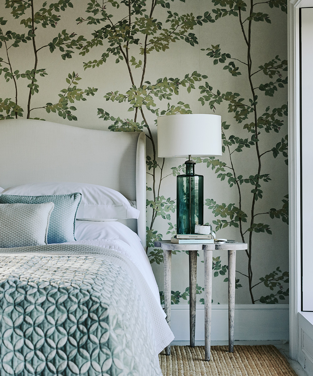 Classic country bedroom with botanical feature wall | Homes & Gardens