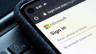 A Microsoft account sign-in prompt on a smartphone.