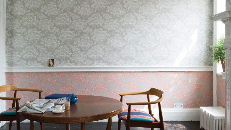 dining room with mixed pattern wallpaper from farrow and ball