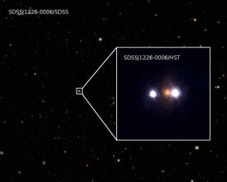 This composite image shows SDSSJ1226-0006, a new gravitationally lensed quasar discovered in a Japanese survey announced on April 11, 2012.