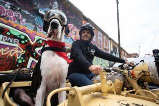 Carlos with his Great Dane in Big Dog Britain.