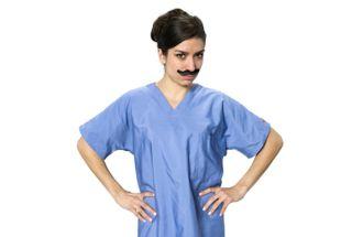 doctor, woman, scrubs, mustache, fake