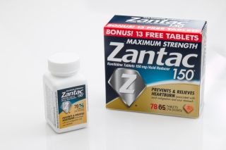 Containers of the drug Zantac.