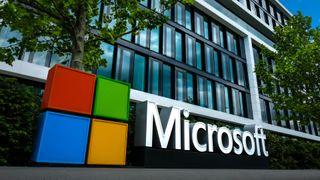 Microsoft logo outside building