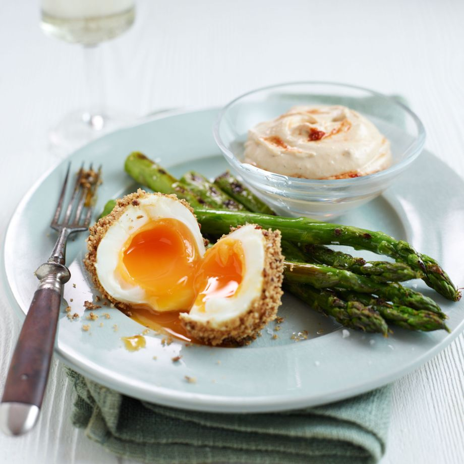 Dukkah Eggs with Griddled Asparagus and Houmous Recipe