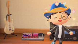 Picture of an electric guitar and pedalboard in Animal Crossing