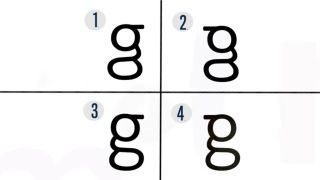 4 different versions of the lowercase letter G