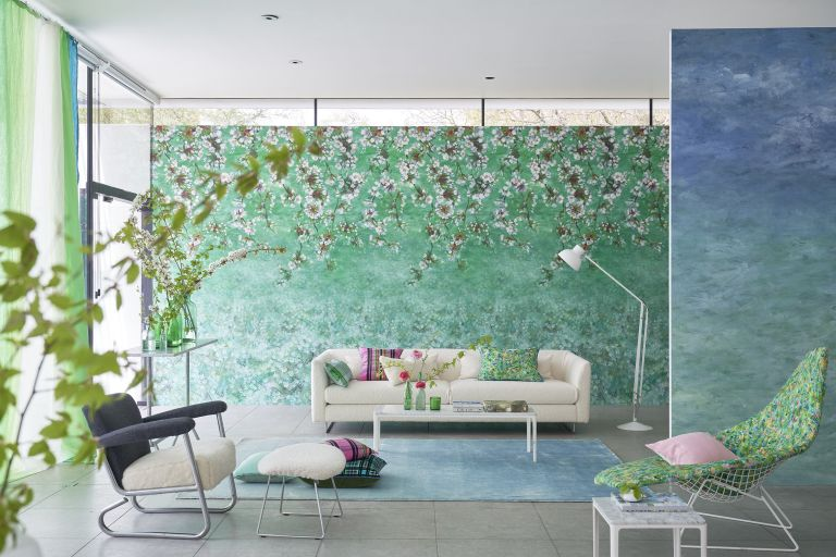 Green, flowers overhanging wallpaper, pale blie rig and gradient blue to turquoise wallpaper