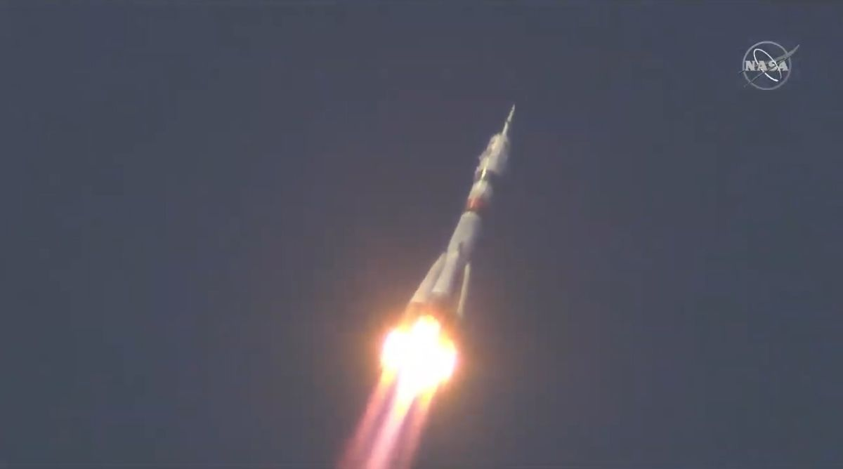 Soyuz crew 'socially distances' from Earth, launches for space station - Space.com
