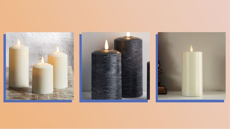 A collage image showing three of the best flameless candles