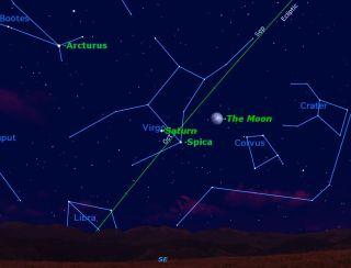 Moon, Saturn, Spica Triple Conjunction Sky Map #1
