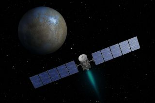 Artist's concept of NASA's Dawn spacecraft approaching the dwarf planet Ceres ahead of a planned orbital arrive on the night of March 5, 2015.