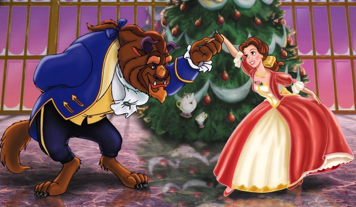 Beauty And The Beast: The Enchanted Christmas The Beast and Belle dance around the tree