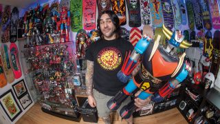 a shot of Mike D'Antonio with his collection