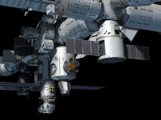 Dragon spacecraft at the International Space Station.