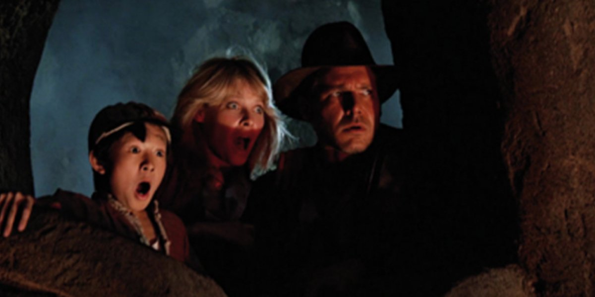 Ke Huy Quan, Kate Capshaw, and Harrison Ford in Indiana Jones and the Temple of Doom