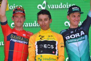 Egan Bernal (Team Ineos) won the 2019 Tour de Suisse ahead of Rohan Dennis (Bahrain-Merida) and Bora-Hansgrohe's Patrick Konrad
