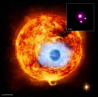 This graphic depicts HD 189733b, the first exoplanet caught passing in front of its parent star in X-rays. The inset contains the Chandra image of HD 189733.
