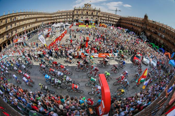 The Vuelta a Espana peloton rolls out for the start of stage 10