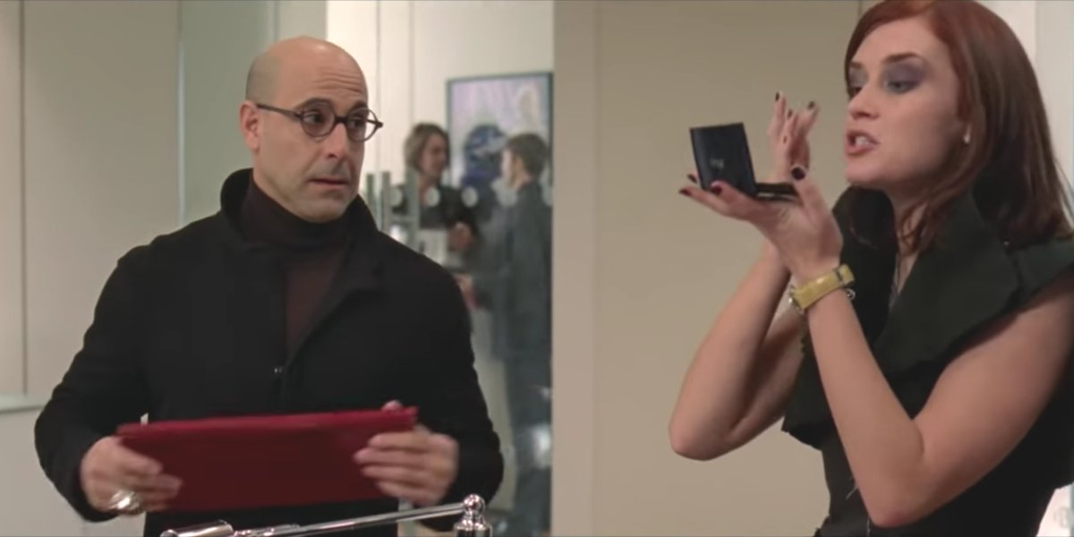 Stanley Tucci and Emily Blunt in The Devil Wears Prada