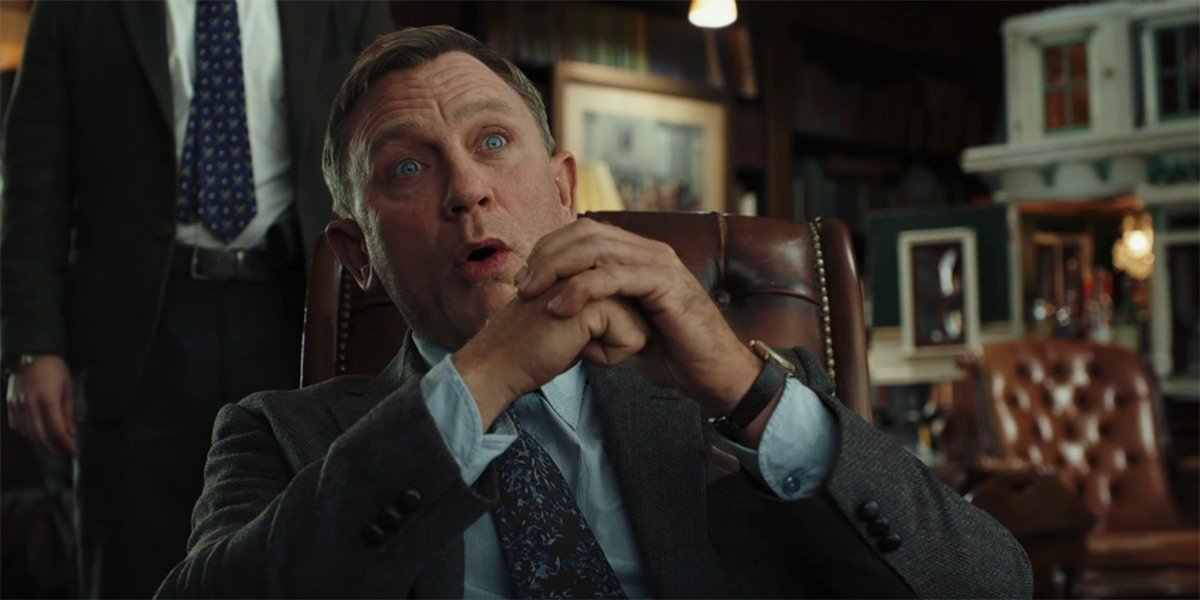 A surprised Daniel Craig in Knives Out