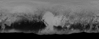 A black-and-white global map of Pluto produced from images taken by NASA's New Horizons space probe.