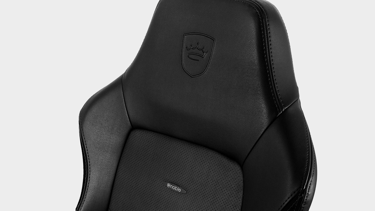 Noblechairs Hero gaming chair on a grey background.