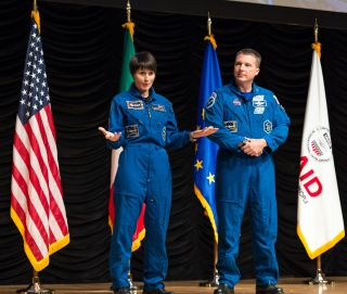 Astronauts Samantha Cristoforetti and Terry Virts