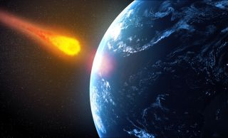 illustration of asteroid slamming into earth