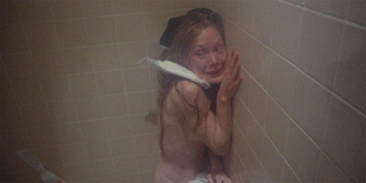 Carrie (Sissy Spacek) terrified in the shower in Carrie