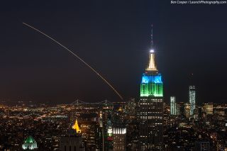 Veteran launch photographer Ben Cooper captured this spectacular photo of NASA's LADEE moon probe soaring across the night sky from Top of the Rock, Rockefeller Center, in New York City, about 200 miles north of the launch pad at NASA's Wallops Flight Fac
