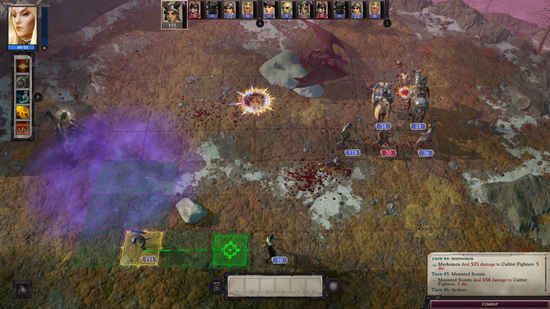 Armies clash on a board covered in purple smoke