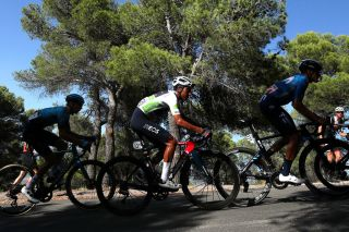 BALCON DE ALICANTE SPAIN AUGUST 20 Egan Arley Bernal Gomez of Colombia and Team INEOS Grenadiers white best young jersey competes during the 76th Tour of Spain 2021 Stage 7 a 152km stage from Ganda to Balcn de Alicante 995m lavuelta LaVuelta21 on August 20 2021 in Balcn de Alicante Spain Photo by Gonzalo Arroyo MorenoGetty Images