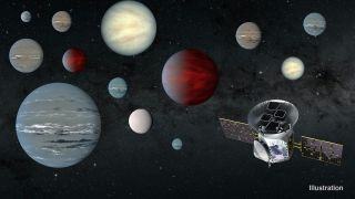 An artist's depiction of the TESS spacecraft and some of the exoplanets it has spotted.