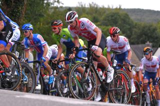 Tom Bohli representing Switzerland in the road race at the 2020 European Championships in Plouay, France