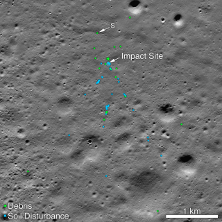 NASA's Lunar Reconnaissance Orbiter spotted debris, marked in green, and soil disturbance, marked in blue, caused by the hard impact of India's Chandrayaan-2 spacecraft on Sept. 6, 2019.